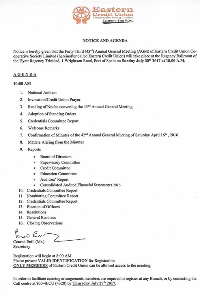 ecu agm notice agenda 2017